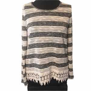 Jolt gray and cream stripe crocheted lace sweater